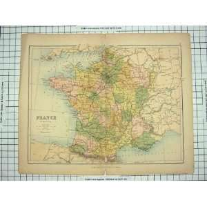 ANTIQUE MAP FRANCE BAY BISCAY MEDITERRANEAN PARIS