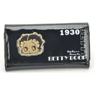Queen Betty Boop Long Trifold Wallet in Shiny Black Toys & Games