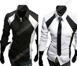 Mens Casual Luxury Stylish Slim Long Sleeve Shirts Two Color Three