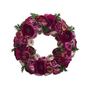 Faux 12 Ranunculus Wreath Pink Beauty (Pack of 2)