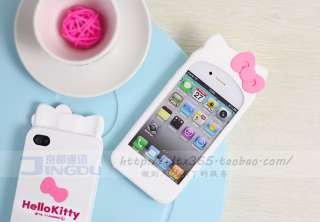White Cute Hello Kitty Bowknot Soft Silicone 3D Case Cover For iPhone4