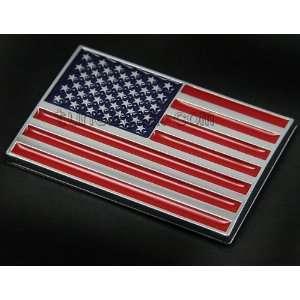 US NATIONAL FLAG CHROME STICKER BADGE EMBLEM DECAL USA NEW Automotive