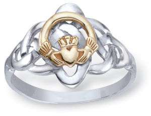 Stunning Womens Celtic Classic Ring 10K Gold Claddagh