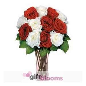 12 Red & White Long Stem Roses  Grocery & Gourmet Food