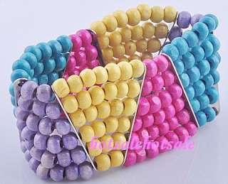 wholesale lots 50pcs assorted colored wood bracelets @@