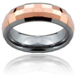Tungsten Carbide Rose Gold Multi faceted Square Ring