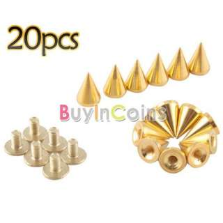 10mm Gold Cone Spikes Screwback Studs Leather Craft DIY Goth Punk Spot