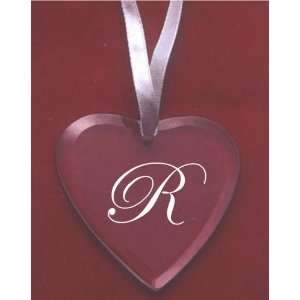 Glass Heart Ornament with the Letter R