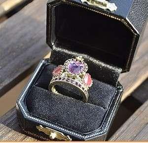 New Fashion jewelry Retro Rhinestone Crown colored glaze Ring