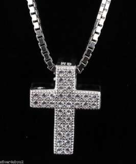 STERLING SILVER CUBIC ZIRCONIA CROSS PENDANT MICRO PAVE