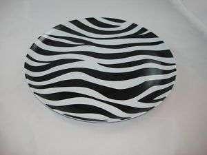 BLACK WHITE ZEBRA ROUND PLASTIC TABLE SERVING PLATE NEW