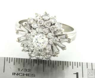 14K WHITE GOLD EXQUISITE 2.36CT DIAMOND CLUSTER COCKTAIL RING SIZE 9
