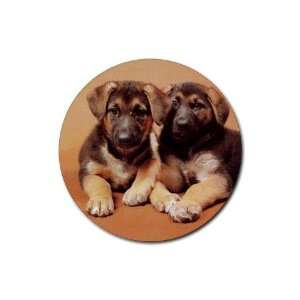 German Shepherd Puppies Rubber Round Coaster (4 pack