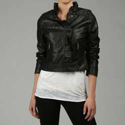 Dollhouse Womens Black Ruffled Faux Leather Jacket