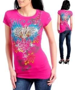 I70 Pink,Cotton,Tattoo Print,Rhinestones,Top 2X(18/20)