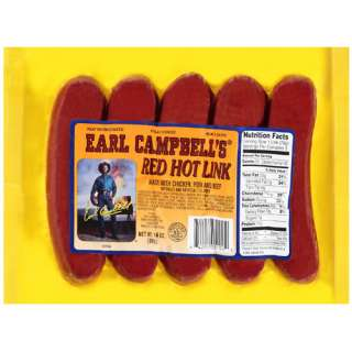 Earl Campbell Red Hot Ink Sausage, 14 Oz Meat, Seafood