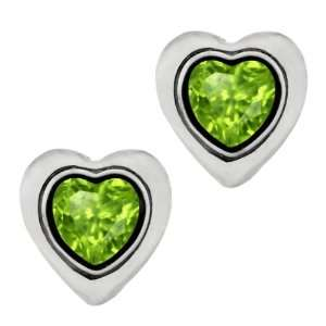 1.02 Ct Heart Shape Green Peridot Sterling Silver bezel