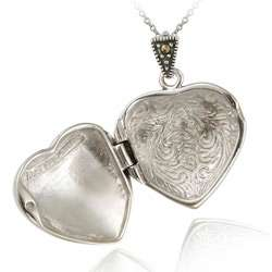 Sterling Silver Marcasite Heart Locket Necklace