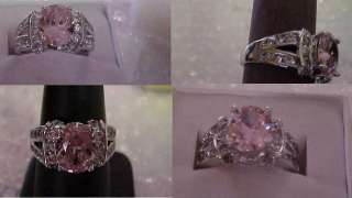 PLATED PREMIER CHIC PINK SAPPHIRE COLOR CUBIC ZIRCONIA DESIGN RING s7