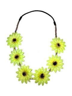 Yellow White Sunflower Flower Stretch Elastic Hair Head Band Wrap Gift