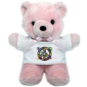 Teddy Bear Pink Peace Symbol Sign Dripping Paint
