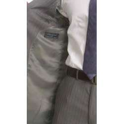 Ferrecci Mens Two button Light Grey Pinstripe Suit  Overstock