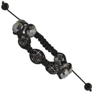 12mm Hematite Black Czech Crystal Shamballa Bracelet Jewelry