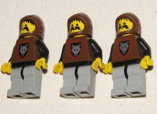LEGO LOT OF 3 RARE WOLFPACK CASTLE KNIGHT MINIFIGS PEOPLE FIGURE
