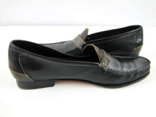 womens black leather COLE HAAN dress loafers shoes 7.5 AAAA 4A narrow