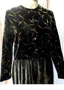 Nicole by Ouida Black w/ Gold Leaf Print Stretch Velvet Jacket Top L