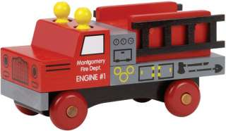 Classic Wooden Fire Truck Toy by Maple Landmark Woodcra