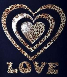 LOVE HEART IN ANIMAL PRINT ~ NEW IN ~ BLACK GIRLS T SHIRT AGE 5 15
