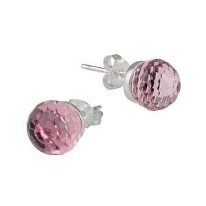 Silver Pink Swarovski Crystallized Elements Stud Earrings Jewelry
