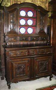 Antique Country French Hand Carved Solid Walnut Vassilier Cupboard w
