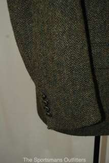 MENS HARRIS BARLEYCORN LEATHER BUTTONED TWEED JACKET 46