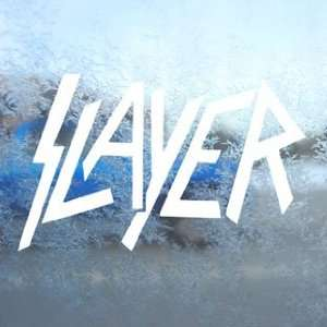 Slayer White Decal Metal Band Car Window Laptop White Sticker