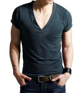 New Men fashion super Deep cut blue V Neck Top Tee T shirt GLEE NCIS