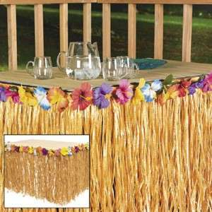 Hawaiian LUAU PARTY Natural Grass Table Skirt Hibiscus Flower Lot
