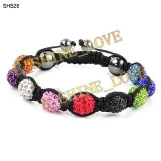 10mm CZ Disco Ball(9Pcs) Crystal Macrame Bracelets+30 Mix Colours