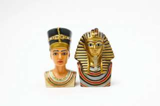 King Tut Bust And Queen Nefertiti Ceramic Salt Pepper Shakers Ancient