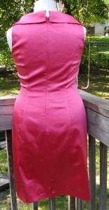 Pink Satin Stretch Cocktail Dress ~ Sz 12, NWOT ~ Shawl Collar