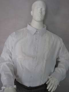 MENS VINTAGE WHITE PLEATED TUXEDO SHIRT   LAYDOWN COLLAR   RUFFLES