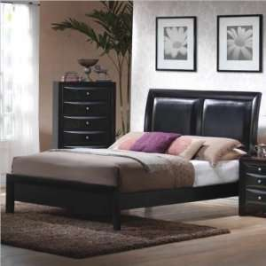 200701Q Briana Low Profile Upholstered Queen Bed in Black: