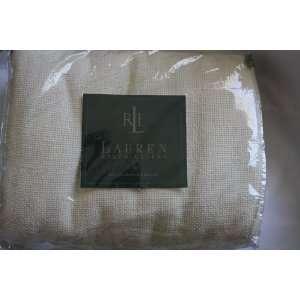 Ralph Lauren Cotton Basketweave Full Queen Cream Blanket