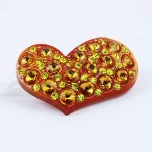 Orange heart shape hair pin with crystal