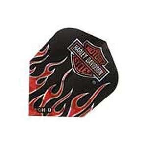 Harley Davidson Black with Orange Flame Dart Flights   Pack of 3