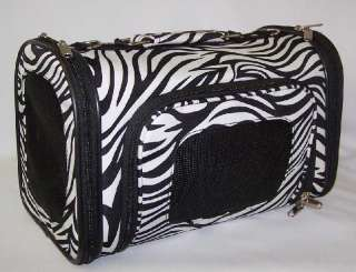 Luggage Style black & white zebra pet dog carrier NEW