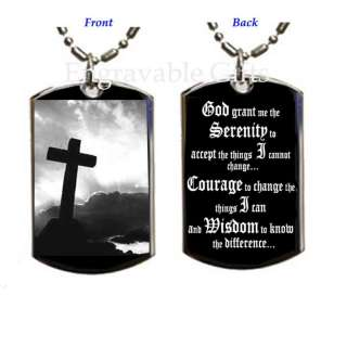 Serenity Prayer and Cross   Dog Tag Pendant Necklace