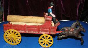 OLD CAST IRON LUMBER WAGON WITH HORSES & DRIVER.