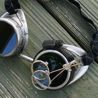 Steampunk Goggles Glasses cyber lens goth silver silver